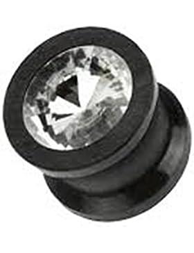 Paula & Fritz® Plug Double Flared aus Silikon schwarz mit herausnehmbarem Stein 4-12mm PXSD03_K