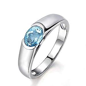 Beydodo Ring Silber 925 Damen Blau Topaz Oval Partnerring Ehering Ring Silber Gr.60 (19.1)