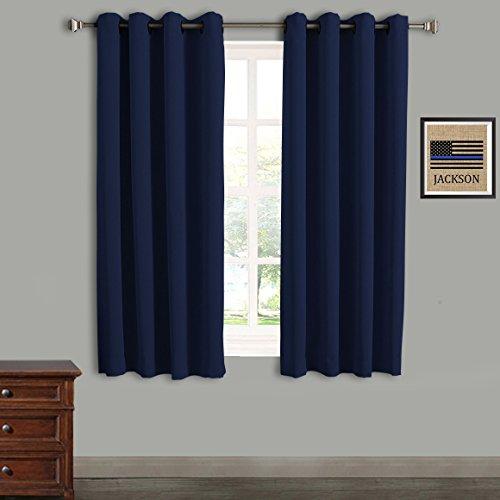 Rose Home Fashion RHF Blackout Thermo Isoliert Curtain-Blackout Curtains-Grommet Vorhänge, Verdunkelung Vorhänge für Schlafzimmer/Wohnzimmer, Navy, 46 by 54 Inches-2pcs