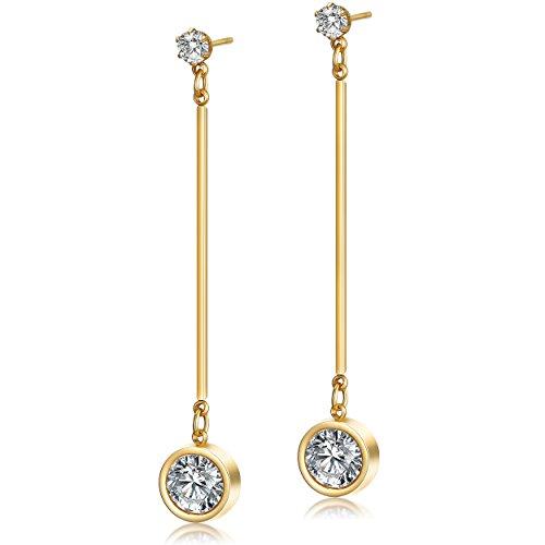 Wistic Jewelry Damen Ohrringe Ohrhänger Hängend Edelstahl Kristall Gold Geschenk für Freundin Mutter Schmucketui (Gold 2)