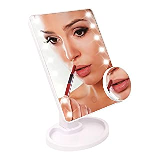 COSMETIC LED TABLE MAKE UP MIRROR- TOUCH CONTROL & 5X MAGNIFYING MAGNIFICATION 16 LED LIGHTS- SELFIE MIRROR (WHITE)