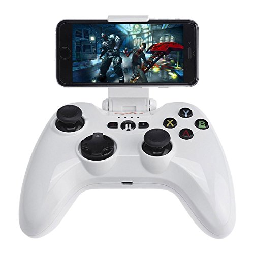 Mobile Gamepad, Megadream MFi iOS Gaming Wireless Controller Joystick kompatibel mit iPhone XS XR X 8 8Plus 7 7Plus 6S 6, iPad Air, iPad Mini 4, iPad Pro, Apple TV, iPod Touch 5, Weiß (Iphone 5c-video-game-controller)