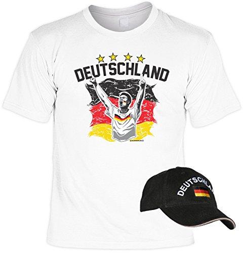 EM SET - T-Shirt mit Kappe: Deutschland - Fussballmotiv - Für alle Fußballfans Weiß