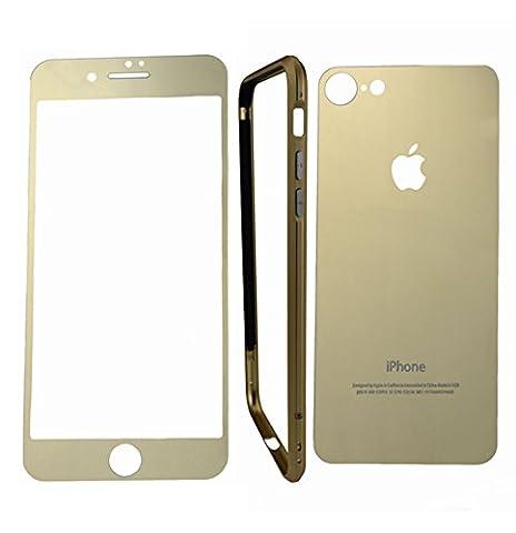 Displayschutzfolie für iPhone 7, hynice gehärtetes Glas Schutz Abdeckung Shield Kit frone + Rückseite + Stoßfest Rahmen Metall Handyhülle Handytasche für Apple iPhone 7