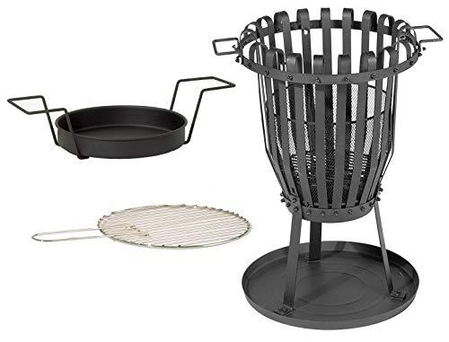 kamelshopping Feuerkorb mit Grilleinsatz | Funkenschutzgitter | Grillrost | pulverbeschichtet | Feuerschale aus Stahl | Maße: ca. 68 cm hoch, Ø ca. 48 cm