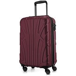 SUITLINE - Bagage à main, Valise cabine, Trolley, 4 roues, ABS très léger, TSA, 55 cm, 34 litres, Bordeaux