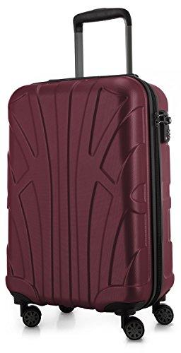 SUITLINE - Handgepäck Hartschalen-Koffer Koffer Trolley Rollkoffer Reisekoffer, TSA, 55 cm, 34 Liter, Burgund