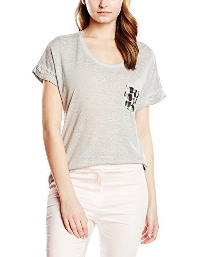 Vero Moda Vmcora SS Wide Top DNM WP3, T-Shirt Femme, Grau(Ash Overdye), XS