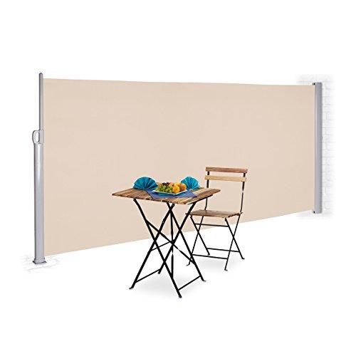 Relaxdays Seitenmarkise ausziehbar für Balkon & Garten, UV-beständiger Sichtschutz zum Stellen, HxB: 160 x 300 cm, beige