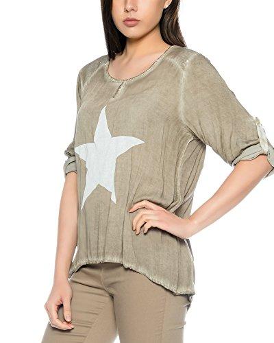 FreyFashion - Made in Italy Damenshirt Top Bluse Longshirt Sommertop mit Stern und Pailletten S/M Taupe
