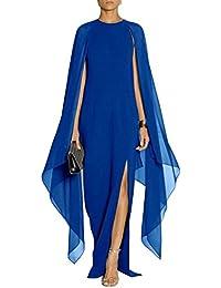 d618cc7fff0ea Gladiolus Donna Elegante Vestiti Lunghi Cocktail Cerimonia Abito in Chiffon  Senza Maniche Blu Zaffiro M