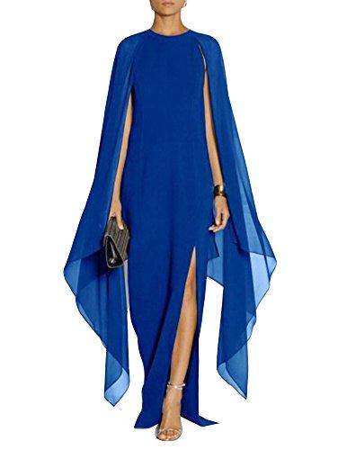 Gladiolus Donna Elegante Vestiti Lunghi Cocktail Cerimonia Abito in Chiffon Senza Maniche/Blu Zaffiro S