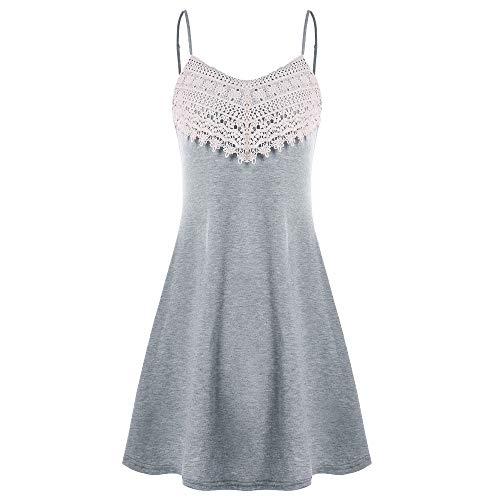 Kostüm Sorority - XuxMim Damen Elegant Lang Spitze Rückenfrei Chiffon Ballkleid Abendkleid Party Gr.32-46(Grau,Small)