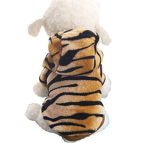 g für kleine Hunde Winter Erwärmung Hund Katze Mäntel Kleidung Flanell Tiger Muster Hoodies Kostüme Tiger XXL Langlebig und nützlich ()