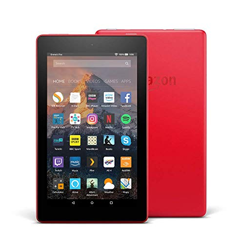 Fire 7 Tablet with Alexa, 7' Display, 8 GB, Punch Red — with Special Offers