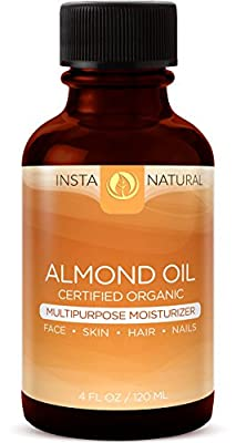 InstaNatural Sweet Organic Almond Oil – Best 100% Pure Multipurpose Moisturizer for Skin, Face, Body & Nails – Cold Pressed, Unrefined & Natural Conditioner for Dry & Damaged Hair – 4 OZ from InstaNatural