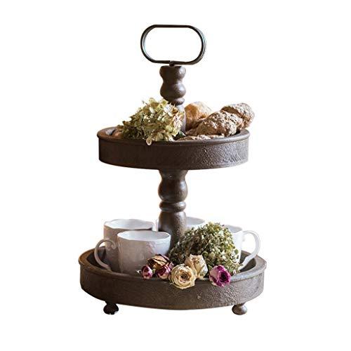 Support à fleurs en bois vintage multi-fonction 2 couches rack de stockage intérieur Rack de pot de plante verte charnue
