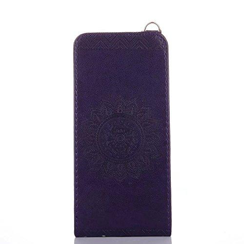 Vertikale Flip Stand Case Brieftasche Pouch Style Cover mit geprägten Blumen Blumen & Lanyard & Card Slots für Samsung Galaxy S8 Plus ( Color : Pink ) Darkpurple