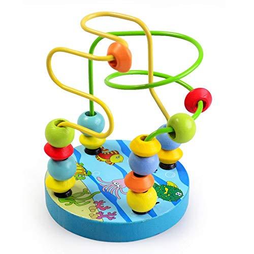 Ogquaton Perle en bois labyrinthe des montagnes russes jeu classique jouets éducatifs pour 3 ans fille garçon rouge pratique et populaire