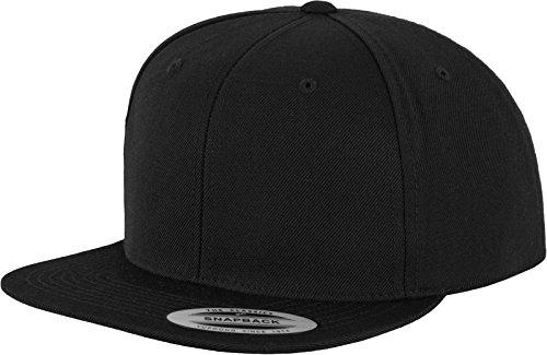 Navy Wool Cap (Flexfit Classic Snapback Cap, Mütze Unisex Kappe für Damen und Herren, One Size, Farbe blk/blk)