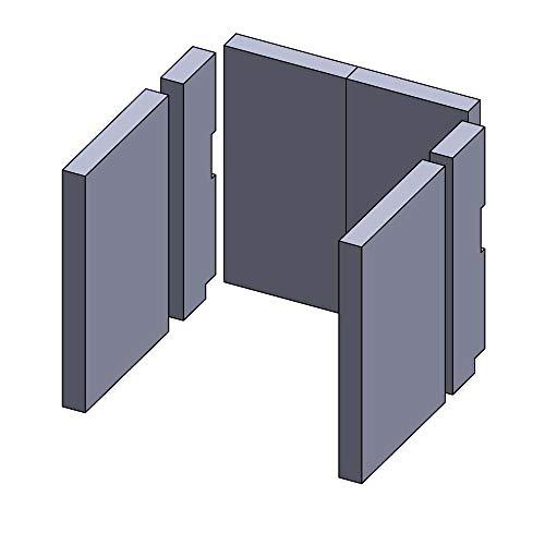 Flamado Feuerraumauskleidung Komplettset 6-teilig passend für Wamsler Kamin Ersatzteile Kaminofen Brennraumauskleidung Schamotte 1.350°C