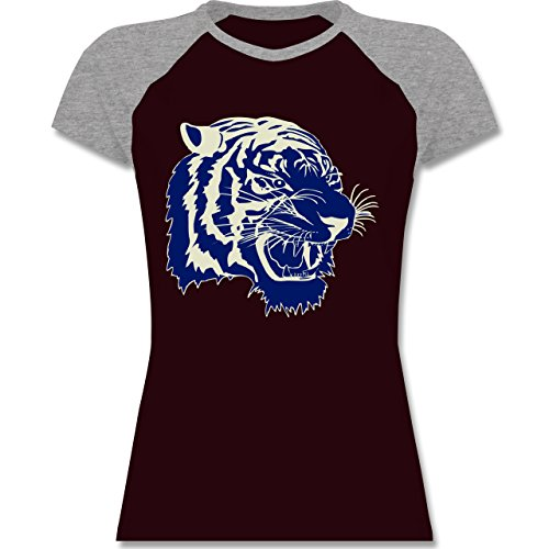 Wildnis - Tigerkopf - zweifarbiges Baseballshirt / Raglan T-Shirt für Damen Burgundrot/Grau meliert