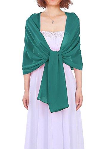 Dressystar AMY333 Chiffon Stola Schal für Kleider in verschiedenen Farben Dunkelgrün 200*75cm