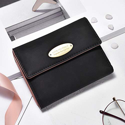 LFG Damen kleine Brieftasche Kurze dreifache Geldbörse einfache Retro Matte Brieftasche, blackWomen's Brieftasche