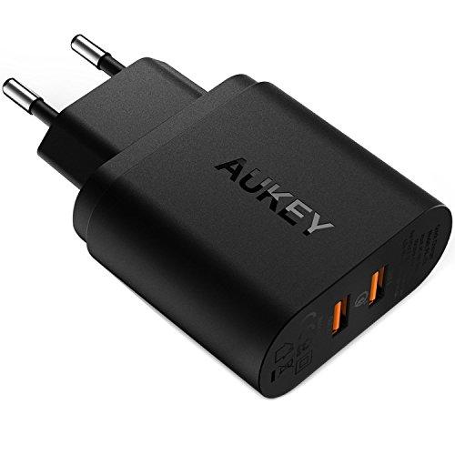 AUKEY Quick Charge 3.0 Caricabatterie USB da Muro 39W Due porte Caricatore USB per Samsung Galaxy S8/Note 8, iPhone X/8/8 Plus, iPad Pro/Air, HTC 10, LG G5/G6, e altri Smartphone e Tablet