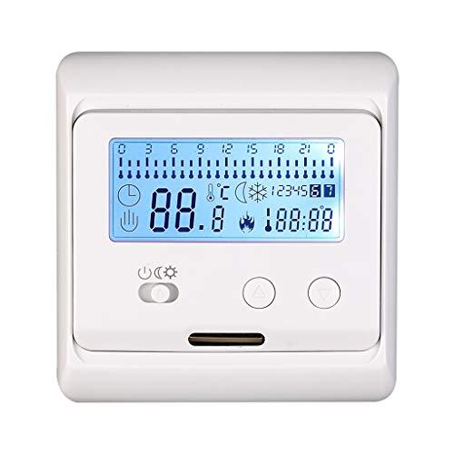 ADAHX Smart Temperature Control Regulator, Nicht programmierbar LCD Heizung Thermostat Withlcd White Backlight Floor Heizung Elektro-Heizung V3, geeignet für Schlafzimmer,White