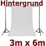 Fotohintergrund Hintergrund für Fotostudio Baumwolle Weiß 3x6m, 300x600cm