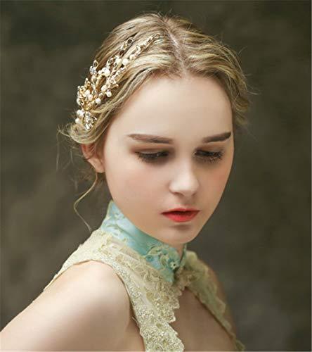 (LNYF-OV Braut Headdress ,Haarschmuck Kopf Blei Hoop Goldene Blume Perle Einfache Hochzeitstag Party-Produkt Nettogewicht / 0.05kg)