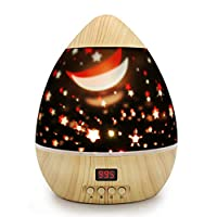 Star Lights Projector, Baby Projector, DSAATN 360 Rotating Star Moon Night Light for Kids, Christmas Gift for Children (Wooden Grain with Hanging Timer)