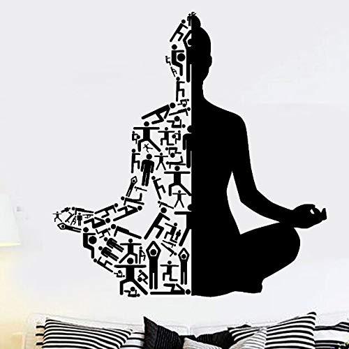 zqyjhkou Yoga Kunst Wandtattoos Gesunder Lebensstil Sport Wandaufkleber Wohnkultur Gym Wand Kunstwand Meditation Yoga Wand Poster Ay957 57x59cm (Hochzeits-kuchen-deckel-eule)