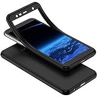 YSIMEE Compatible Fundas Samsung Galaxy J4 Plus 2018 Estuches Transparente Silicona 360 Grados Completa integral Frente y Detrás Suave Ultra Delgado Bumper TPU Goma Protectora Carcasas,Negro