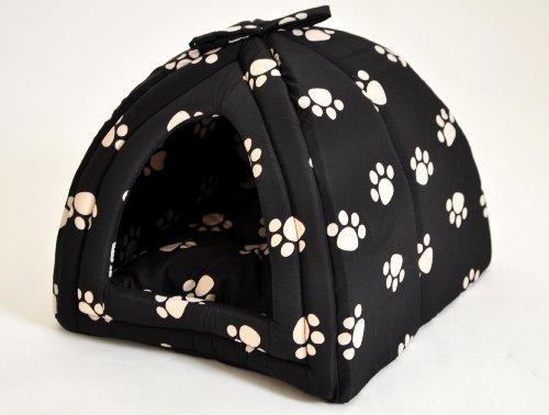 nanook Hundehöhle Kuschelhöhle Gr. L - 45 x 45 cm - SCHWARZ mit Tatzenmotiv und herausnehmbarem Kissen