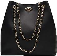 Envias Leatherette Handbags For Women's Ladies (ChainStrap_Black_EVS-