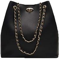 Envias Leatherette Handbags For Women's Ladies (ChainStrap_Black_EVS-110)