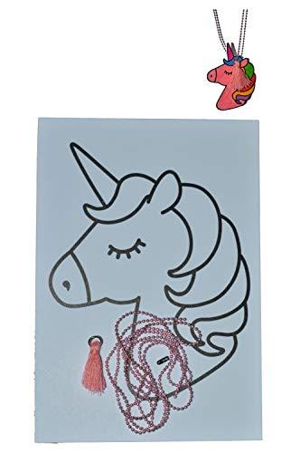 ThuisinThema Bastelset SCHRUMPFFOLIE mit Motiven Einhorn mit Zubehör: 1 A6 Blätter Schrumpffolie mit Motiven Einhorn , 1 Farbige Perlenkette, 1 Quaste Hellrosa. Selbst Perlenkette Machen.