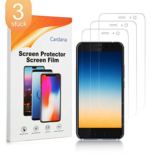 Cardana 3X HTC U11 Schutzfolie, Bildschirmschutzfolie[ Volle Abdeckung ][Einfache blasenfreie Installation] Panzerglasfolie, extrem langlebige Folie Transparent
