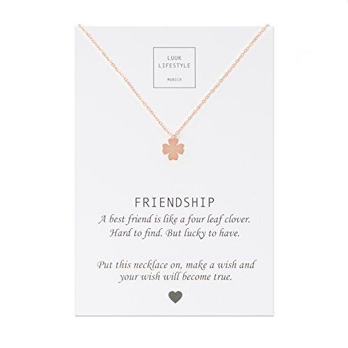 LUUK LIFESTYLE Edelstahl Halskette mit Kleeblatt Anhänger und Friendship Spruchkarte, Glücksbringer, Damen Schmuck, rosé