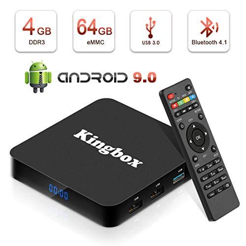 Android 9.0 TV Box BT4.1 [4GB RAM+64GB ROM] Boîtier TV 3D+4K [2019 Dernière Version] USB3.0 Kingbox Android 8.1 Smart TV, avec HD/H.265 / 4K / 3D / BT4.1