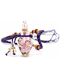 QIYUEQI Ms Collar flores de vidrio en gotas de agua de la botella de aceite de