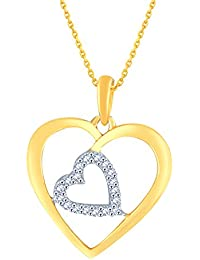 Silvernshine 1/8 Carat TW Diamond Heart In Heart Pendant Necklace In 14K Yellow Gold Fn .925