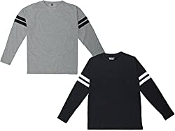 SayItLoud Mens Solid Round Neck T-shirts (Pack of 2) (C40SOLIDGREYBLACKBLACKWHITE-XL_Grey, Black, Black, White_X-Large)