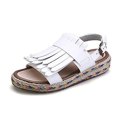 Ochenta - Sandales Pour Femmes En Simili Cuir, Talons Plats, Ouvertes Sur Le Devant Blanc (blanc)