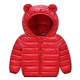 Echinodon Baby Steppjacke Leicht Kinder Übergangsjacke Jacke mit Ohren Kapzuenjacke Mädchen Jungen Herbst Winter Rot