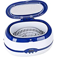 UKCOCO Mini limpiador ultrasónico Máquina de limpieza de joyas para anteojos Joyas de diamantes con enchufe de EE.UU. (azul)