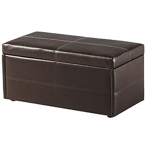 Unity New Espresso Brown Leather Ottoman Storage Box Box