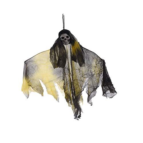 Amosfun Sensenmann Schädel hängen Skelett Halloween gruselig beängstigend hängende Partei liefert Spukhaus Requisiten (gelb + schwarz) (Grim Reaper Prop)